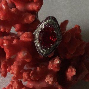 Vintage 925 garner &topaz ring
